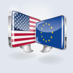 Sprechblasen in europäisch und amerikanisch