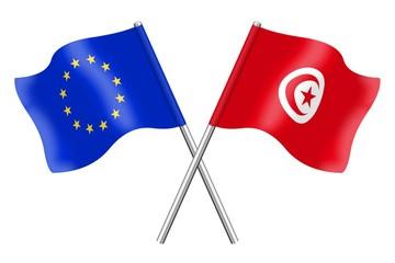 Drapeaux : Europe et Tunisie