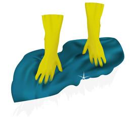 Уборка. Перчатки. Резиновые перчатки. Тряпка. Мыть пол.