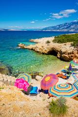 Beach scene in Pag, Adriatic sea