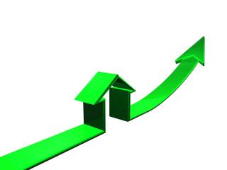 House icon with rising arrow.Conceptual.