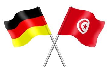 Fahnen: Deutschland und Tunesien