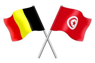 Drapeaux : Belgique et Tunisie