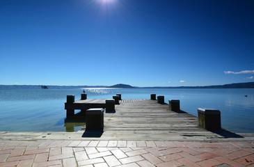 Lake Rotorua.Prichal. New Zealand.