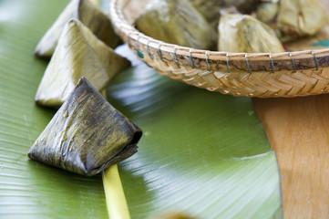 close up asian dessert on banana leaf