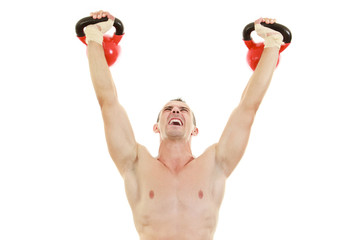 man holding and lifting high up red kettlebells weights