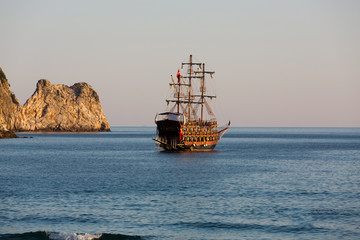 Alanya - the pirate ship at the beach of Cleopatra