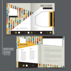 colorful geometric style half-fold brochure template