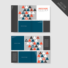 geometric style half-fold brochure template  for business