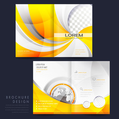 modern half-fold template brochure for advertising in yellow