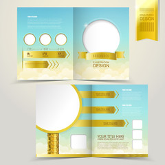template for advertising brochure with golden road sign