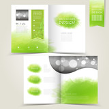 Fototapety green template for advertising brochure with green watercolor sp