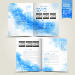blue template for advertising brochure with splash blue elements
