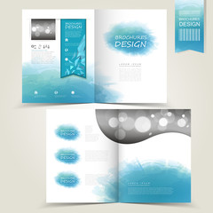 blue template for advertising brochure with blue watercolor spla