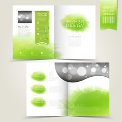 green template for advertising brochure with green watercolor sp