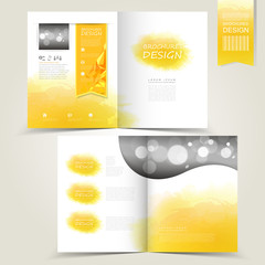 yellow template for advertising brochure with yellow watercolor