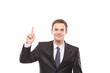 Young businessman pointing up with his finger