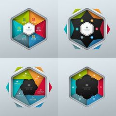 Set of bright vector templates for infographic or presentation