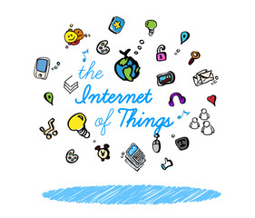 The Internet of things chart sketch connected devices icons