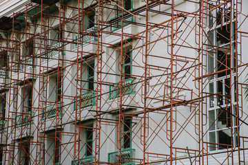 scaffolding with building