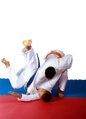 Throw of Judo made sportsman  with orange belt