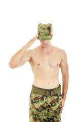 Soldier saluting standing proud and serious in military uniform