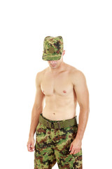 Soldier swat team officer standing proud shirtless