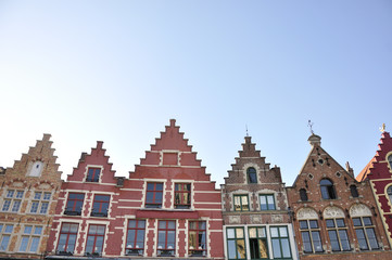 Bulidings in the main square of Bruges