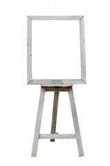 Old  Blank art wood board, wooden easel, front view