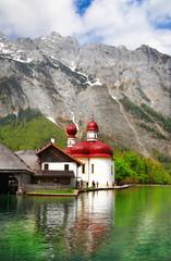 beautiful Alpine scenery - crystal lake Koenigsee with church