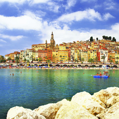 Menton - colorful port town, border France- Italy