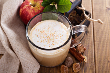 Apple pie latte with cinnamon and syrup