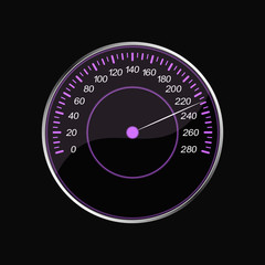 Speedometer on a black background. Violet scale