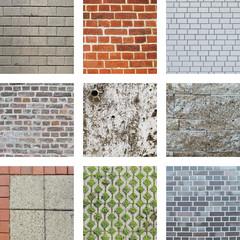 Neun Bilder von Mauern und Steinen