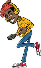 Cartoon teen with earphones listening to music
