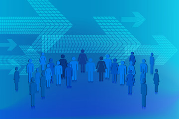 Blue abstract design with people and arrows