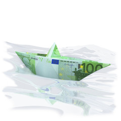 Papierschiffchen mit 100 Euro