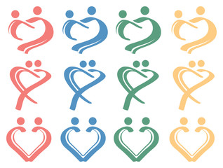 Human Love Relationship Conceptual Symbol Design Icon Set