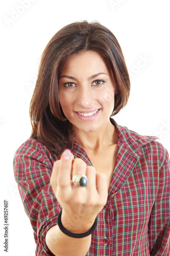 woman call with her finger on white background Poster