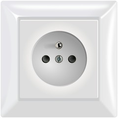 Simple modern white power socket