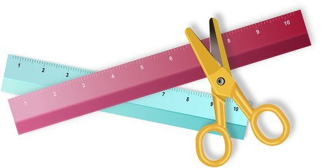 Two colored rulers and yellow plastic scissors