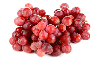 Sweet red grapes isolated on white