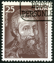 GERMANY - 1975: Michelangelo (1475-1564), painter and sculptor
