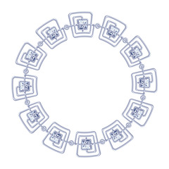 round frame vector - silver chain on the white background