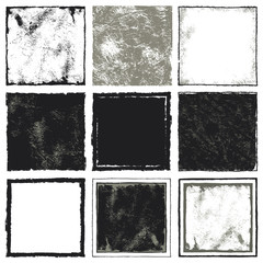 Set square. A set of nine squares with grunge texture