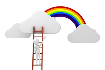 3d man on a ladder, clouds and rainbow competitive concept