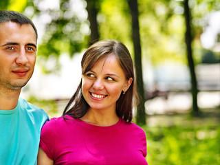 Happy couple   at park.