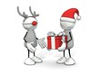 canvas print picture - little sketchy man with santa hat present reindeer with a gift