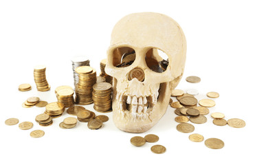 Human skull and coins isolated on white