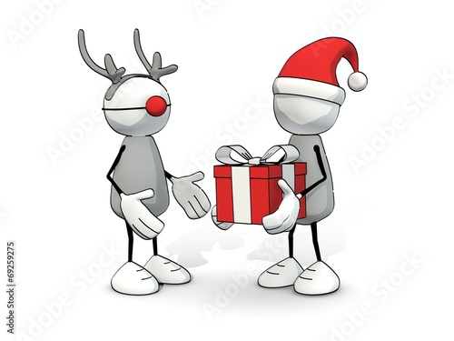 canvas print picture little sketchy man with santa hat present reindeer with a gift